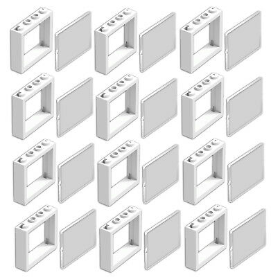 ☀️Lego Lot Of 12 New White 1 X 4 X 3 Windows With Glass Town City House Pieces