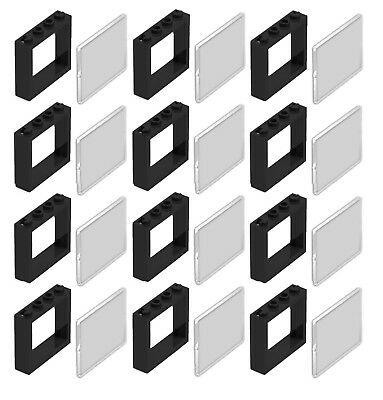 ☀️Lego Lot Of 12 New Black 1 X 4 X 3 Windows With Glass Town City House Pieces