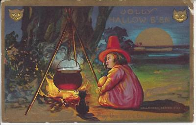 Jolly Halloween,postmarked 1910,may The Fates Be Good To You,black Cat,witch