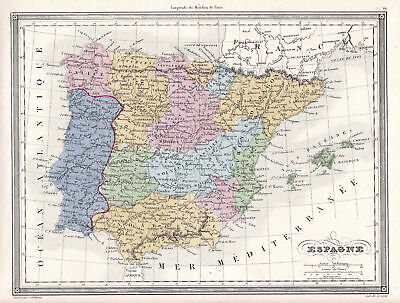 Andalusien Karte Europa.1837 Spain Spanien Espagne Portugal Madrid Andalusien Andalusia Map