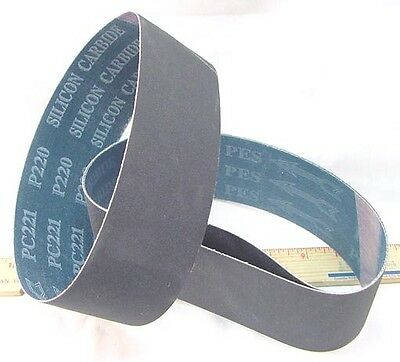 """BUTW (3) 60 grit Silicon Carbide lapidary grinding belt 6"""" x 2 1/2"""" drum"""