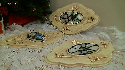 3 Wall Plaques with Stained Glass centers 3-d Flower & Butterfly lot