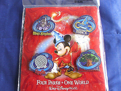 Disney * FOUR PARKS ONE WORLD * New in Pack Retired 4 Pin Booster Set