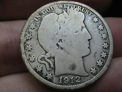 1912 P Silver Barber Half Dollar, Good Details, Full Date