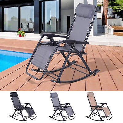 Folding Recliner Chair Outdoor Lounge Rocker Zero-Gravity Seat w/ Adjustable