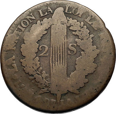 1792 FRANCE King LOUIS XVI Antique FRENCH REVOLUTION TIME 2 SOLS Coin i69396