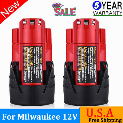 2.5AH For Milwaukee 48-11-2420 M12 12 Volt M12B Lithium-Ion Compact Battery 2-Pk