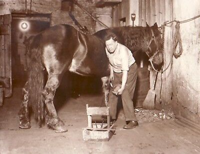 Moffitt Manhattan Blacksmith in Shop Moffit Marechal ferrand old Photo 1920's