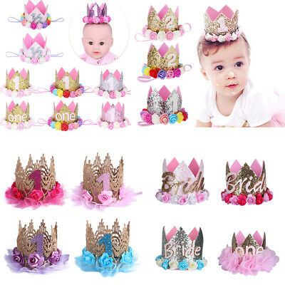 Baby Girl Boy 1st Birthday Party Crown Hat Headband Cake Smash Prop Photo Outfit