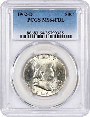 1962-D 50c PCGS MS64 FBL - Franklin Half Dollar