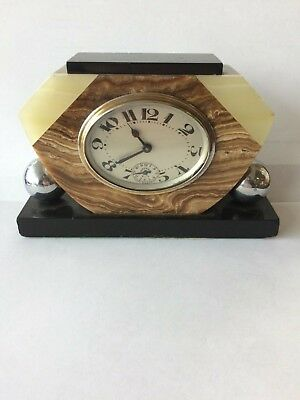 Art Deco Marble Alarm Clock Good Working Order