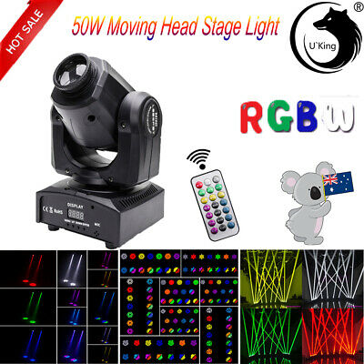 RGBW U`King 50W Beam Moving Head Stage Light DMX512 Bar DJ Party Remote Lighting