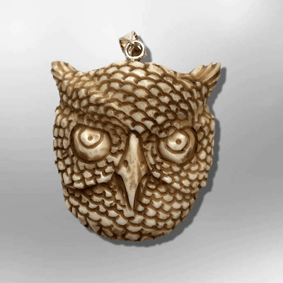 Handmade Carved Owl Head Shape Curved Back No Paint Detailed Pendant