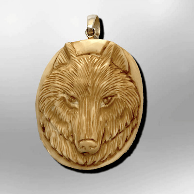 Handmade Carved Wolf Head Round Oval Curved Back No Paint Detailed Pendant