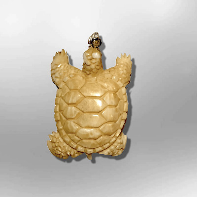 Carved Handmade Small Turtle with Shell Shape No Paint Detailed Pendant