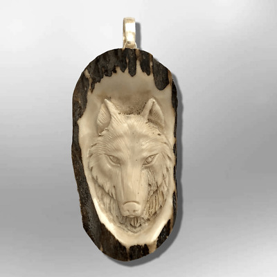 Carved Handmade No Paint Wolf Head Oval Flat Back Detailed Pendant