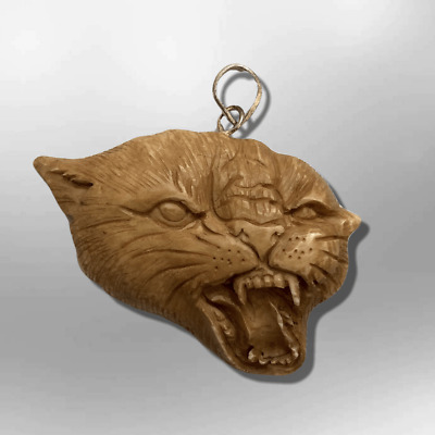 Handmade Carved Cheetah Head Shape Flat Back No Paint Detailed Pendant