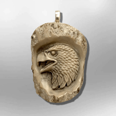 Carved Handmade No Paint Eagle Head Oval Flat Back Detailed Pendant