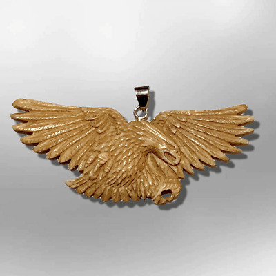 Handmade No Paint Carved Flying Eagle Feathers Wide Flat Back Pendant