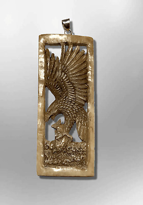 Handmade Carved Long Hollow Rectangle Flying Eagle No Paint Pendant