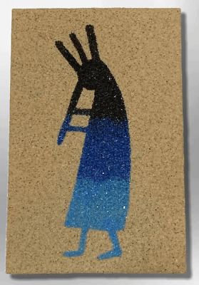 Handmade Native Navajo Rectangle Sand Painting Kokopelli Magnet