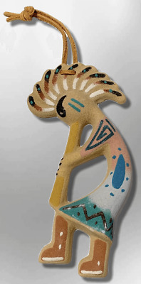 Handmade Native Navajo Sand Painting Kokopelli Shape Hanging wall Tree Ornament