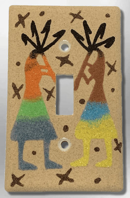 Handmade Navajo Sand Painting Two Kokopelli Dancers Single Toggle Plate Cover