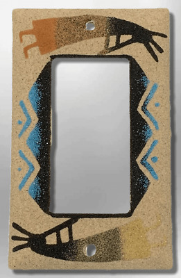 Navajo Handmade Sand Painting Two Kokopelli Single Rocker Switch Plate Cover
