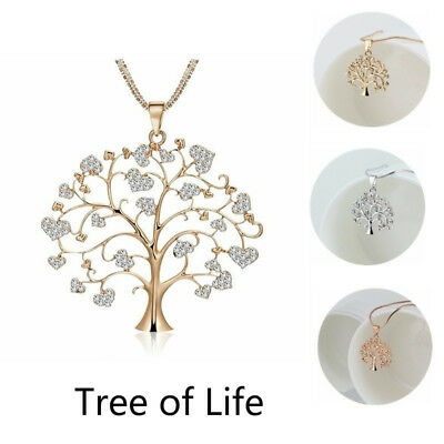 Tree of Life Crystal CZ Cubic Zirconia Pendant Necklace Ladies Gold Silver Rose