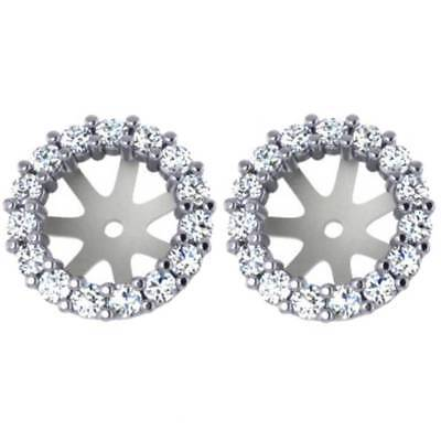 5/8ct  Diamond Earring Studs Halo Jackets 14 Kt Fit 1 1/2ct Diamonds (7-7.5mm)