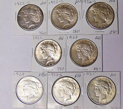 Lot of 8 AU Peace Silver Dollars 1922 1922-D 1922-S 1923 1923-S 1924 1925 1926-S