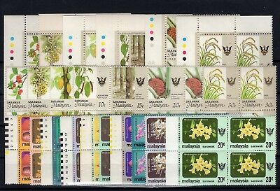 P106260/ Sarawak / Flowers / Full Years 1979 – 1993 (Blocks Of 4) Mnh
