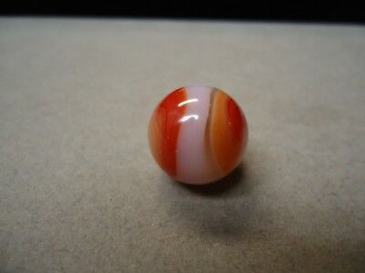 Vintage Akro Agate Red & Peach & White Corkscrew Marble  5/8  Mint +