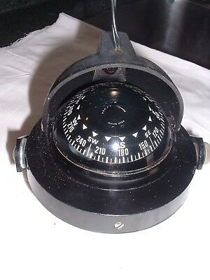 Vintage Lighted Aqua Meter Boat Compass Gimbaled with Bracket / Clean Working