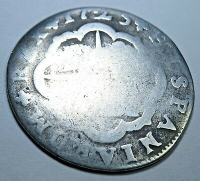 1725 Spanish Silver 2 Real Piece of 8 Reales US Colonial Pirate Treasure Coin