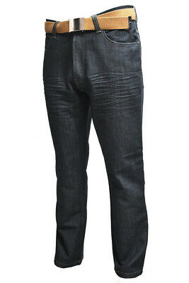 Creon Previs New Mens Kori Straight Leg Jeans Black and Blue with Belt