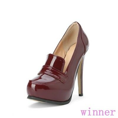 Britian women round toe high stiletto heel shoes slip on patent leather platform