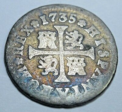 1735 Spanish Silver 1/2 Reales Piece of 8 Real US Colonial Pirate Treasure Coin