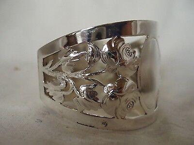 English Rose Pierced Napkin Ring Sterling Silver Sheffield 1910