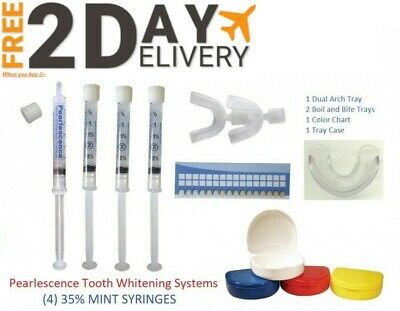 PEARLESCENCE PF 35% 4 x 3cc / ml syringes MINT + SHADE GUIDE + 2 x Trays & More