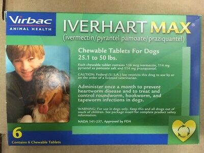 xIverhart Max for Dogs 25.1 to 50lbs 6 Monthly Chew Tabs SHORT-DATED 04/2019!