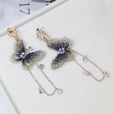 Fashion Embroidery Butterfly Crystal Tassel Drop Dangle Earrings Stud Jewelry