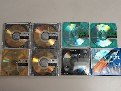Used Blank Mini Discs JVC Sony TDK Lot Of 8