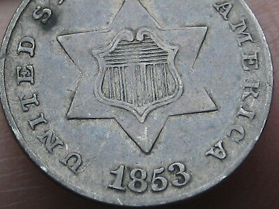 1853 Three 3 Cent Silver Trime- XF Details