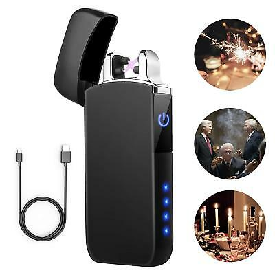 Lighter TECCPO Double Arc Lighter Windproof USB Lighter with Touch Switch, LED P