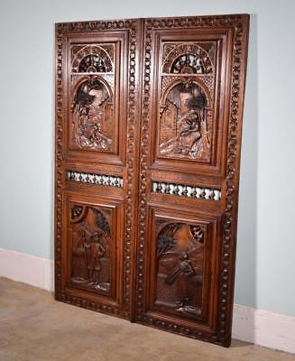 """*57"""" Tall Pair of French Antique Door Carved Breton Panels in Chestnut Wood"""