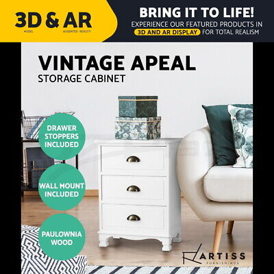 Artiss Vintage Bedside Table Chest of 3 Drawers Storage Cabinet Nightstand White
