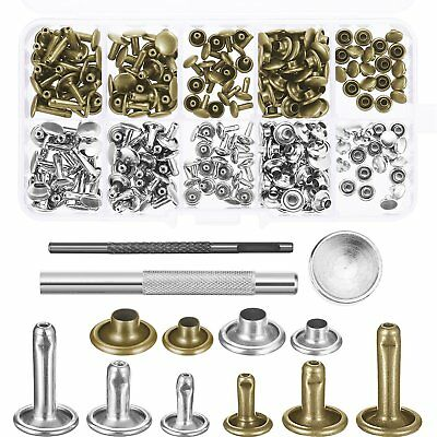 120 Set Leather Rivets Double Cap Rivet Buttons Tool Kit for DIY Leather Craft