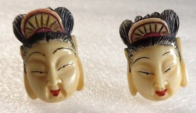"Antique Vintage Oriental Hand-Carved ""Faux Ivory"" FACES Screw-Back Earrings"