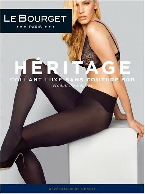 Le Bourget Héritage Luxe Seamless 50D Tights Pantyhose - Large/X-Large - Black